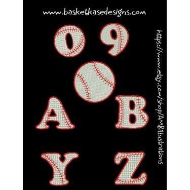 BASEBALL ALPHA- NUMERIC  (A through Z AND 0 through 9)
