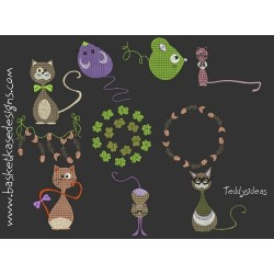 CROSS STITCH CAT SET (SET OF 10 DESIGNS)