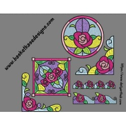 STAIN GLASS ROSES SET